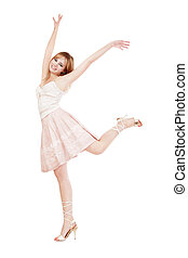 Happiness - Pretty young blond girl dancing with happy smile...