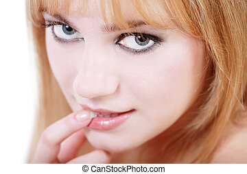 Babe - Close-up portrait of young pretty blond girl with...