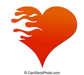 Flaming Heart - A red Heart being  eaten by flames.