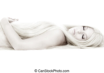 Beautifull blond lying like cinderella - Beautiful blond...