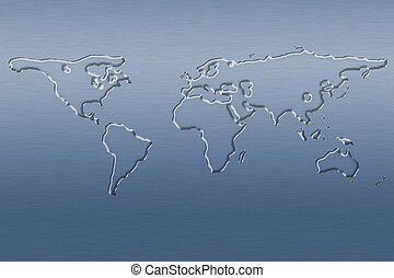 Water world map - The world map made of water on blue...