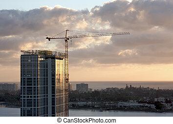 grúa, edificio, construcción, sitio