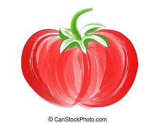 Tomato Brush Art - illustration of hand drawn tomato with...