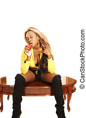 Young Jamaican girl - An blond young jamaican girl sitting...