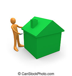 Home Repairs - Metaphor of a person doing repairs on a house...