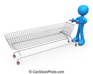 Extreme Shopping - 3d metaphor of an addicted consumer