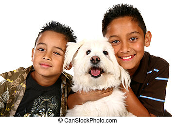 Happy Hispanic Children on White - Two Latino Boys and Their...