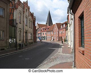 Street scene in Roebel, Mecklenburg-Western Pomerania,...