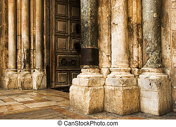 The door of the church of the Holy Sepulcher in Jerusalem