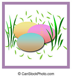 easter egg hunt - easter scrapbook frame with dyed eggs in...