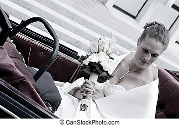 bride in the coach - Bride arriving in a coach on her...
