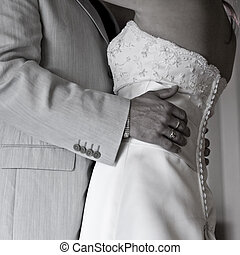 The wedding dance - Bodyshot of a bride and groom dancing