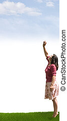 Aim High - A lady reaching up towards the clouds