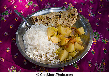 Desert meal - Chapati, rice and vegetable for lunch during...