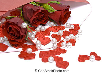 Valentines letter - Red roses in the envelope on a white