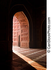 Taj Mahal mosque - Light entering the Taj Mahal mosque...