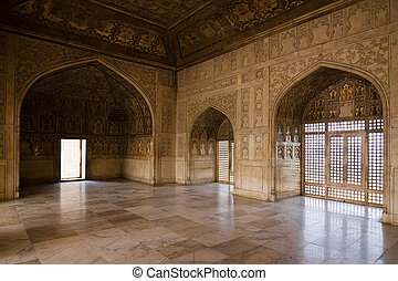 Khas Mahal - The hall of the Khas Mahal, inside of Red Fort...