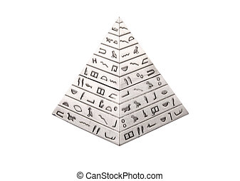 Pyramid - Silver pyramid with hieroglyphs on a white...