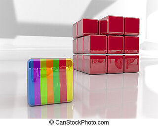 Organized Group - Are you different 3d rendered puzzle cube...