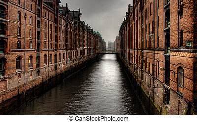 Warehouse district - Historic warehouse district of Hamburg,...