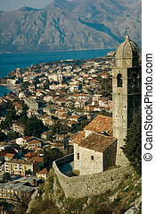 tower in Old Kotor - ruin of road with stone tower and view...