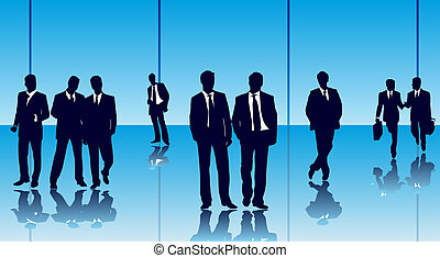 Businesspeople - businesspeople in a glass office building