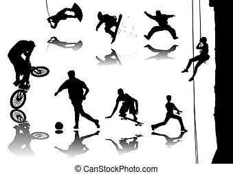 Sports - Silhouette vector illustration of several sports