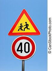Traffic signs - Two traffic signs clipping path