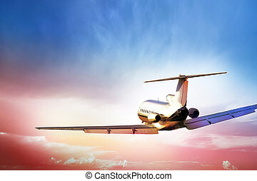 Passenger Aircraft in flght - Passenger aircraft fling into...