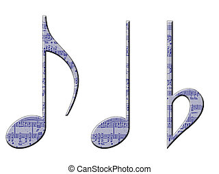 Musical Symbols - Three musical symbols with a manuscript...