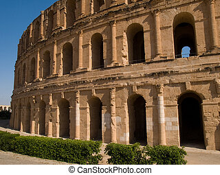 Colosseum - Exterior of the ancient Roman colosseum in El...