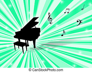 Piano - Musical instrument with notes on a colorful...