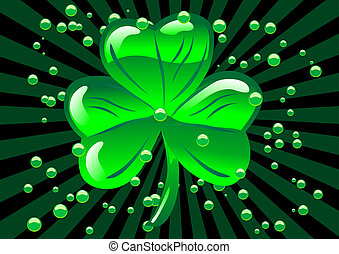 St Patricks shamrock - Abstract illustration of a glass...