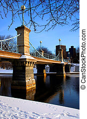 Boston Public Garden winter - Boston Public Garden in snow,...