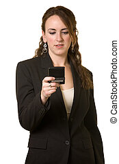 Woman reading pager