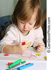 Drawing  - Cute little girl drawing with markers