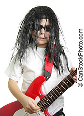 Rock guitarist looking stright with red guitar isolated over...