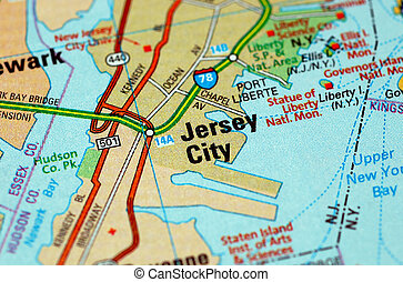 Jersey City - Map centered on the city of Jersey City....