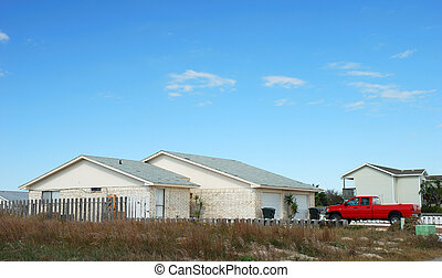 Residential house and car in the southern usa