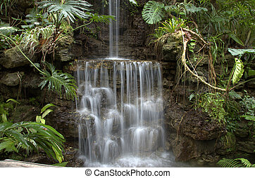 secluded waterfall - beautiful sparkling waterfall...