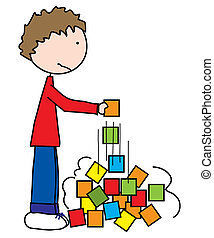 Oh, no... - Boy building tower with colored blocks and...