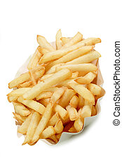 Junk Food - Crunchy French Fries on a paper plate with...
