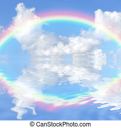 Rainbow Fantasy - Abstract fantasy of a blue sky and rainbow...