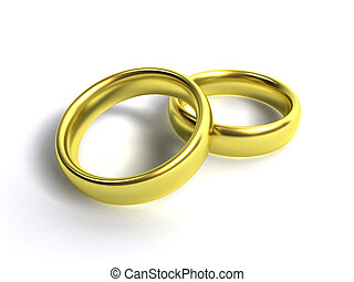 Golden rings - 3d scene two golden rings on white...