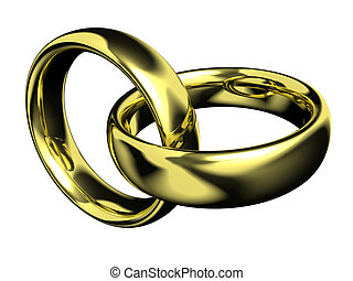 Golden rings - 3d scene two golden rings on white...