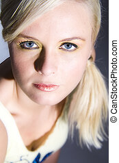 Beautiful blond eye contact - Portrait of a beautiful blond...