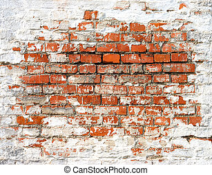 Ancient Brick Wall - Fragment of old brick wall with white...