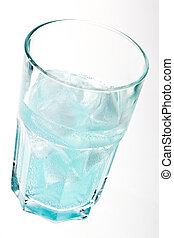 blue cocktail - ice in the glass with blue cocktail