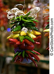 Braided peppers - Colorful peppers in a farmers market at...