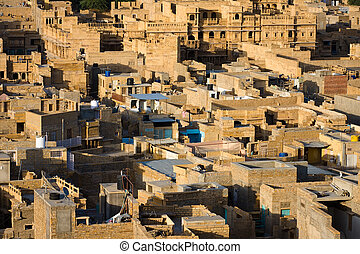 Jaisalmer, the golden city - Aerial view of the old city -...